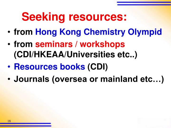 Seeking resources: