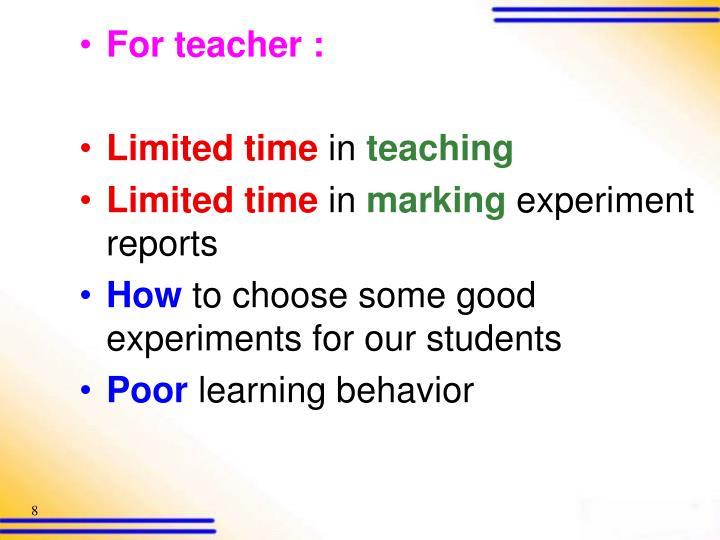 For teacher :