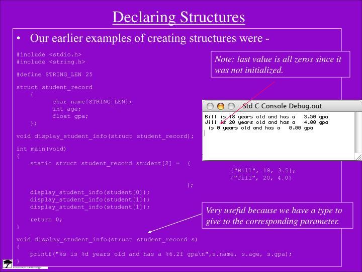 Declaring Structures