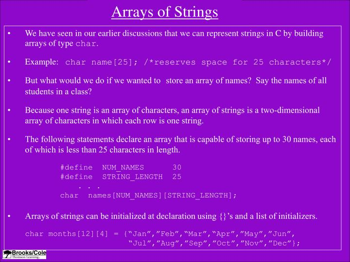 Arrays of Strings