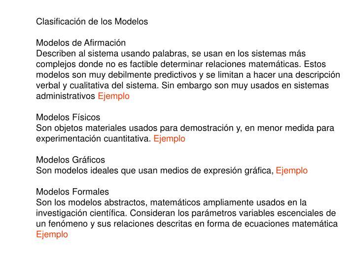 Clasificación de los Modelos