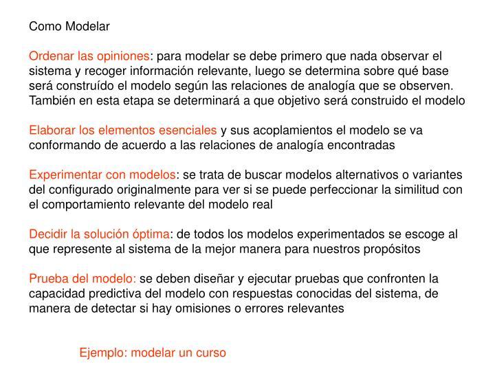 Como Modelar