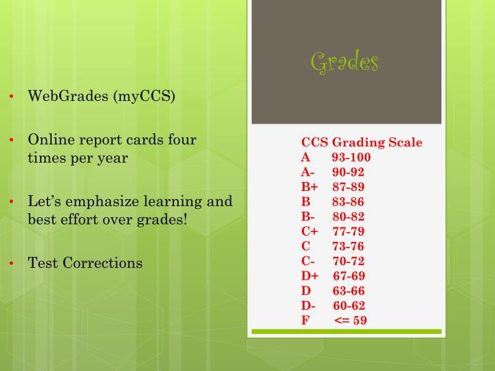 CCS Grading Scale