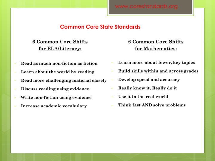 6 Common Core Shifts
