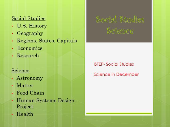 Social Studies  Science