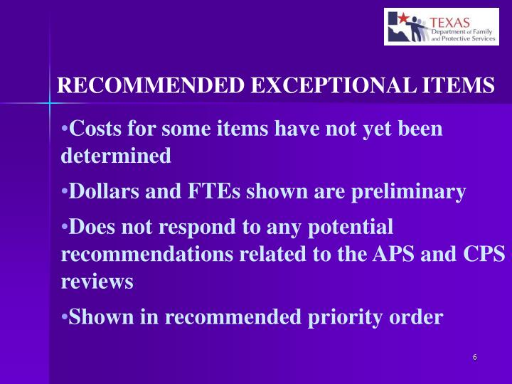 RECOMMENDED EXCEPTIONAL ITEMS