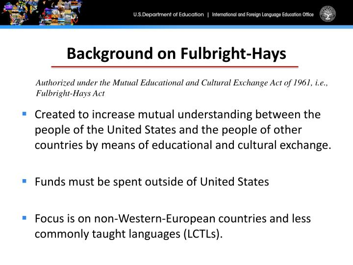 Background on Fulbright-Hays