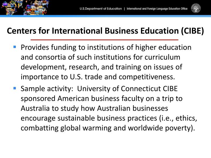 Centers for International Business Education (CIBE)