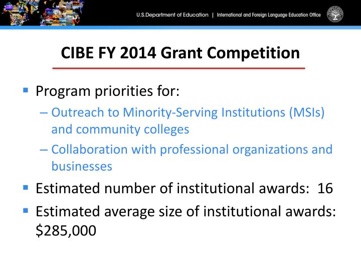 CIBE FY 2014 Grant Competition
