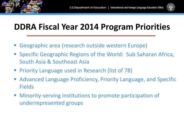 DDRA Fiscal Year 2014 Program Priorities
