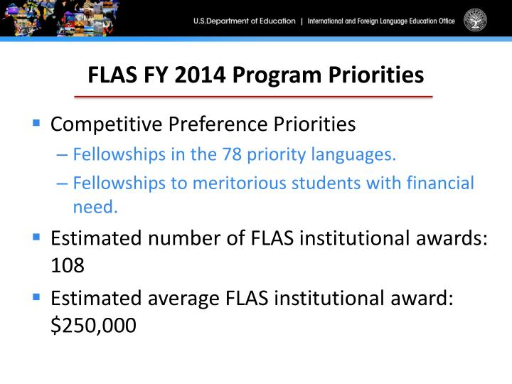 FLAS FY 2014 Program Priorities