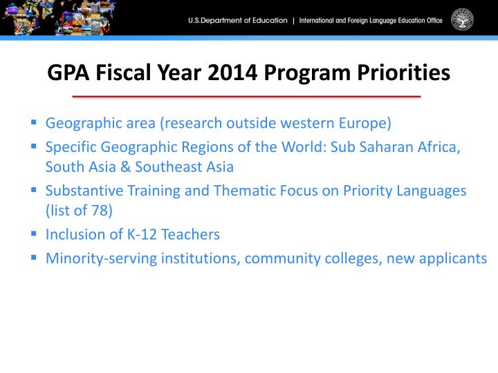GPA Fiscal Year 2014 Program Priorities