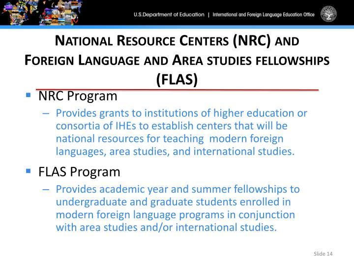 National Resource Centers (NRC) and