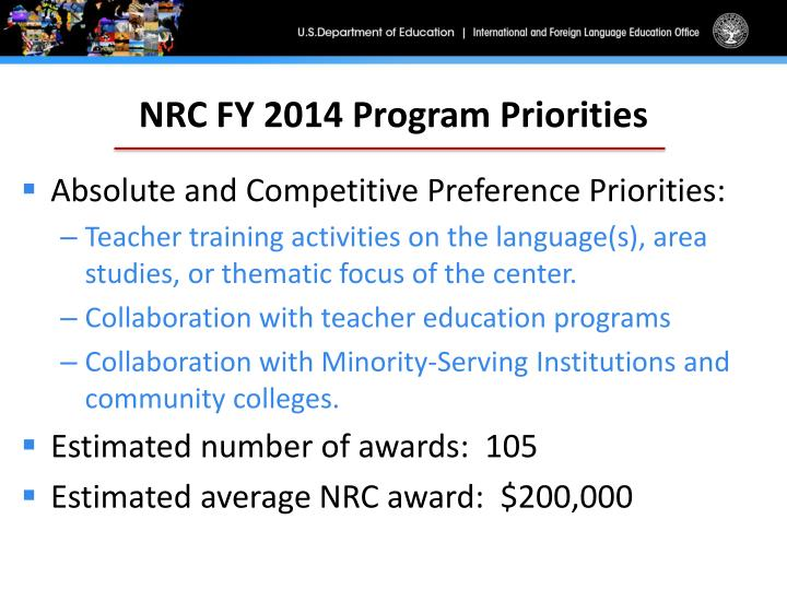 NRC FY 2014 Program Priorities
