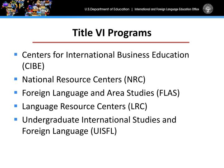 Title VI Programs