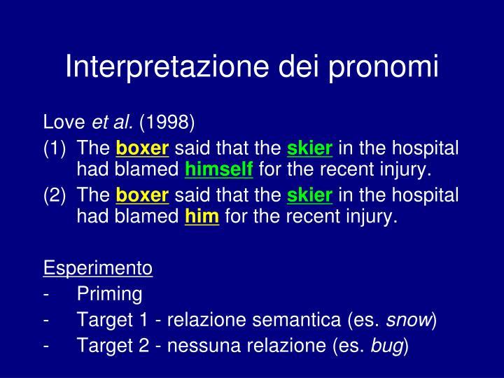 Interpretazione dei pronomi