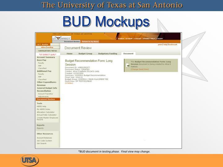 BUD Mockups