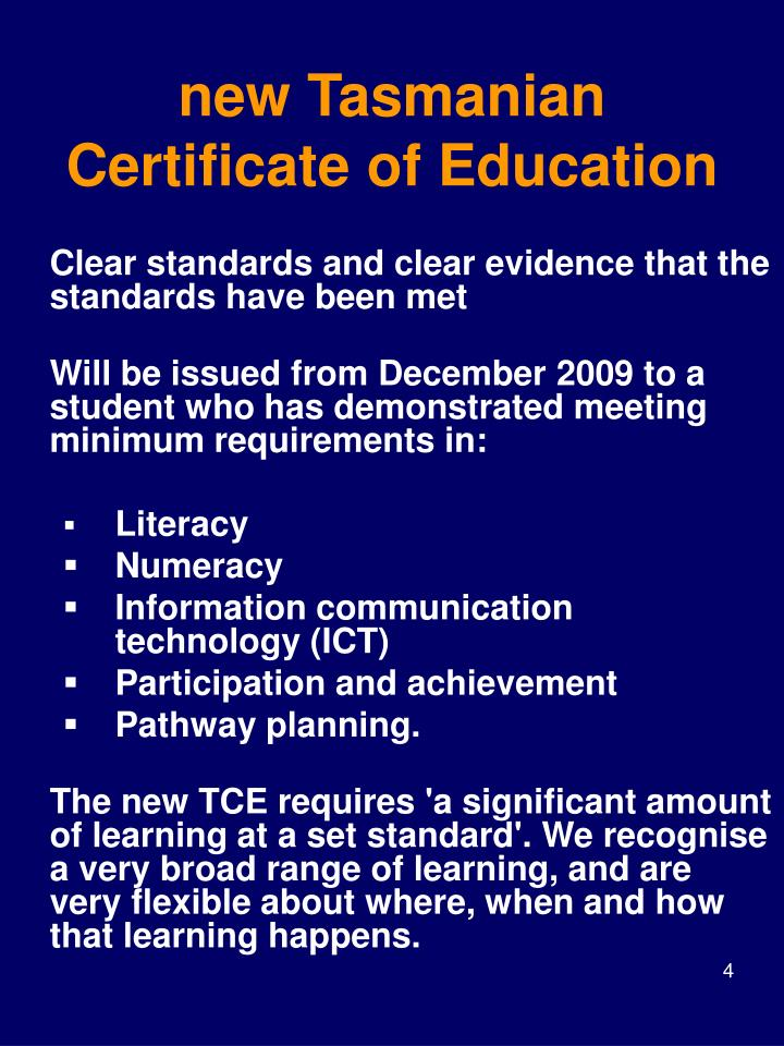 new Tasmanian Certificate of Education