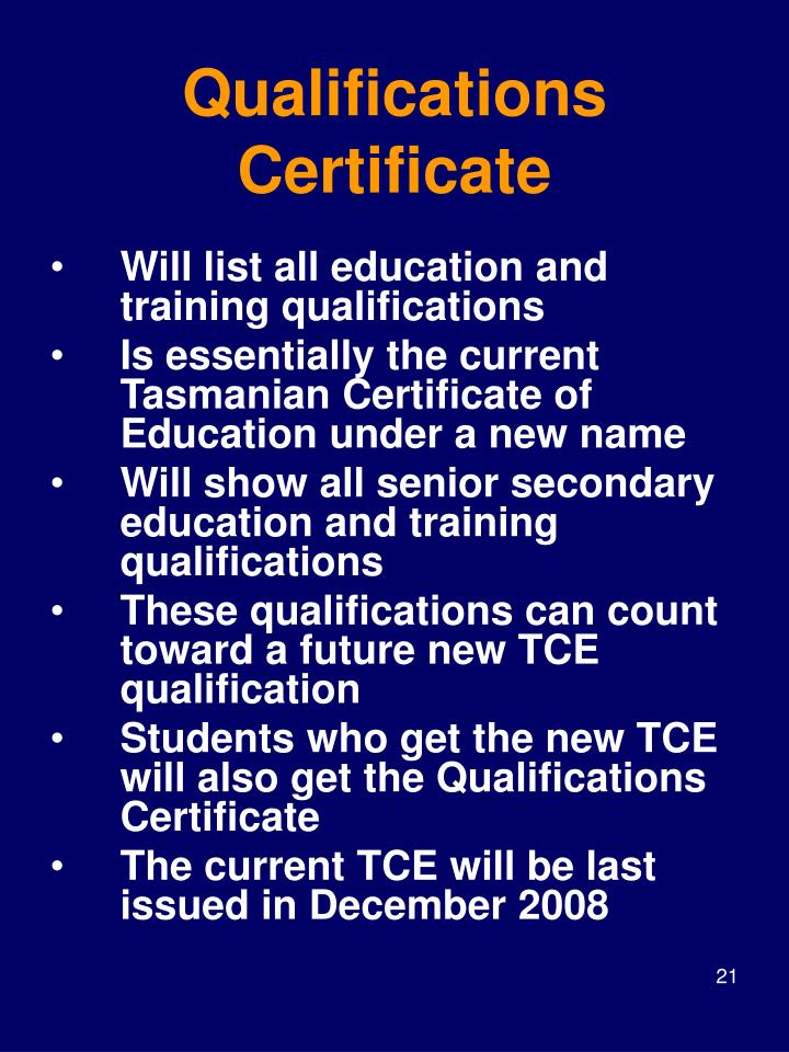 Qualifications Certificate