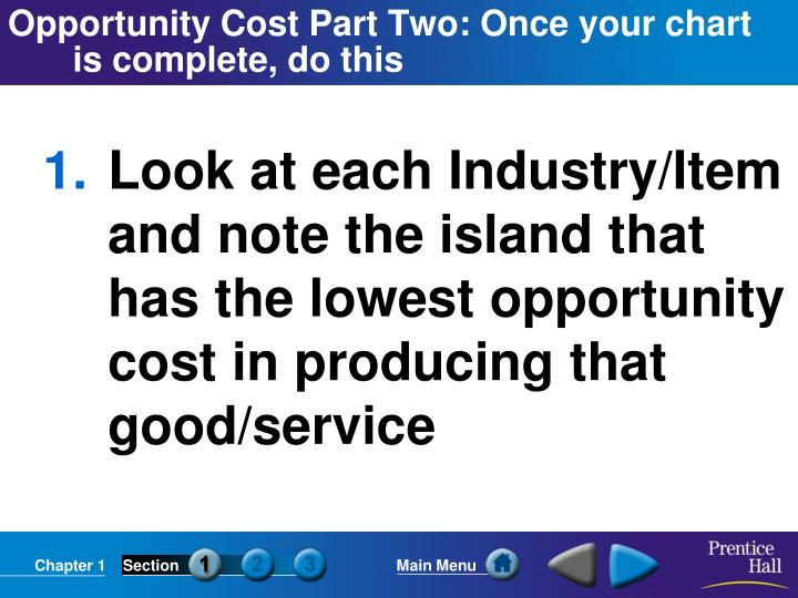 Opportunity Cost Part Two: Once your chart is complete, do this