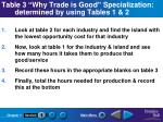 table 3 why trade is good specialization determined by using tables 1 2