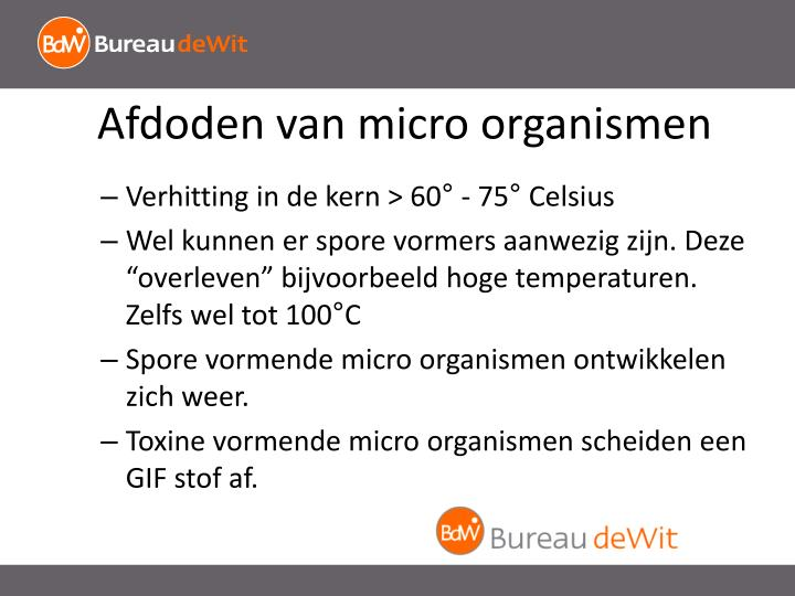 Afdoden van micro organismen