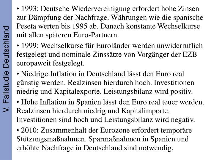 1993: Deutsche Wiedervereinigung erfordert hohe Zinsen zur Dämpfung der Nachfrage. Währungen wie die spanische Peseta werten bis 1995 ab. Danach konstante Wechselkurse mit allen späteren Euro-Partnern.