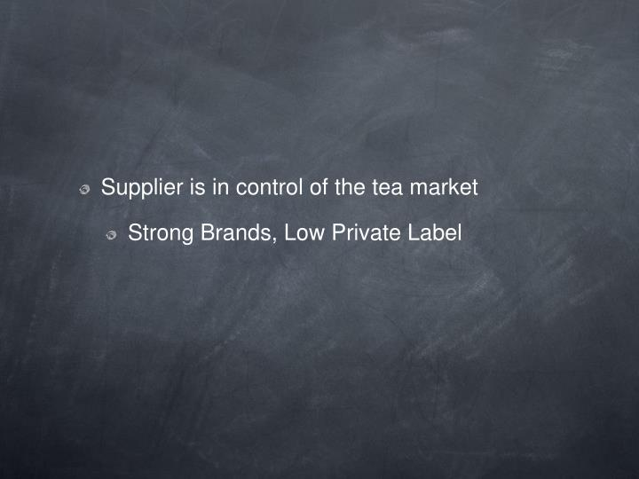 Supplier is in control of the tea market