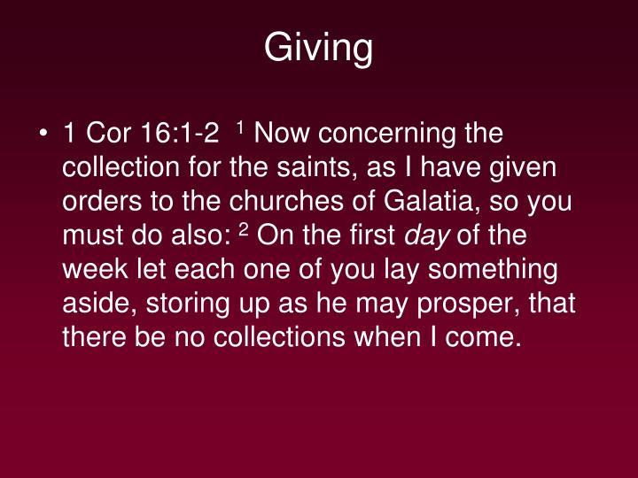 1 Cor 16:1-2
