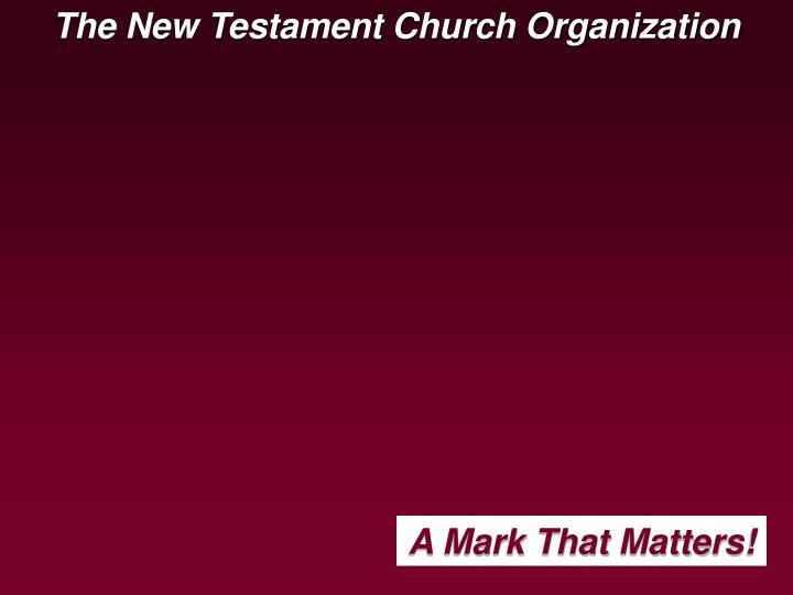 The New Testament Church Organization