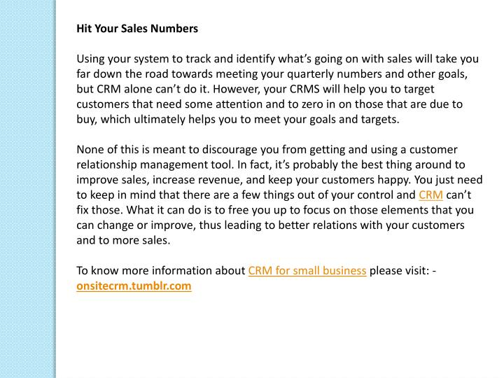 Hit Your Sales Numbers