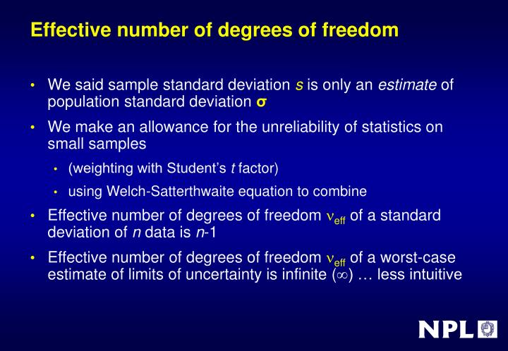 Effective number of degrees of freedom