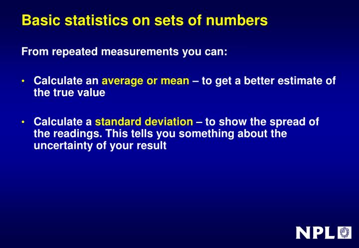 Basic statistics on sets of numbers
