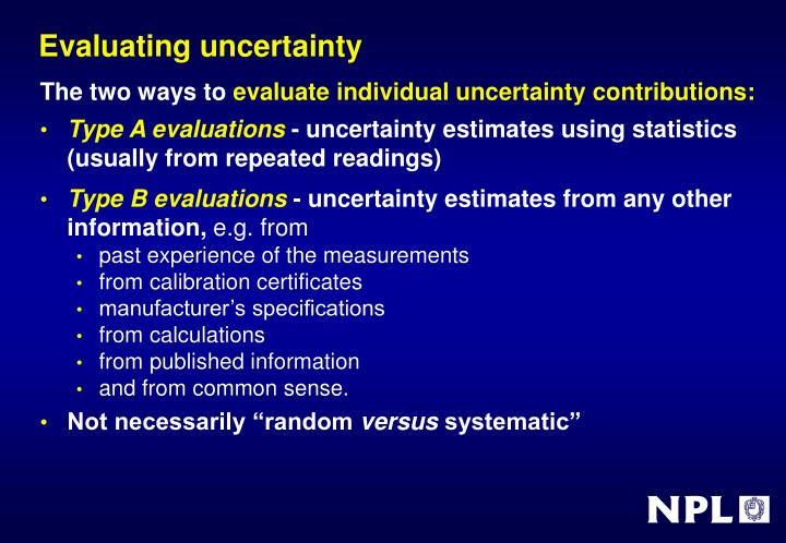 Evaluating uncertainty