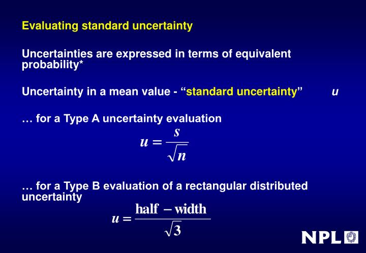 Evaluating standard uncertainty