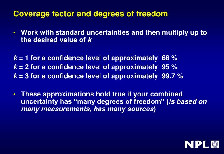 Coverage factor and degrees of freedom