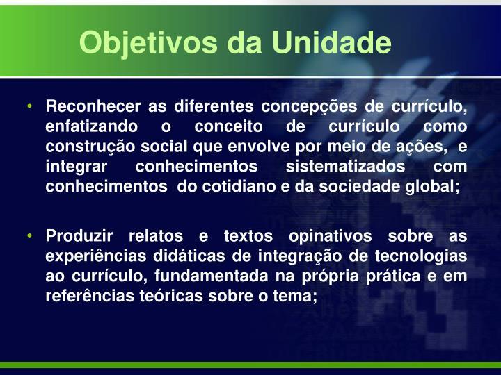 Objetivos da Unidade