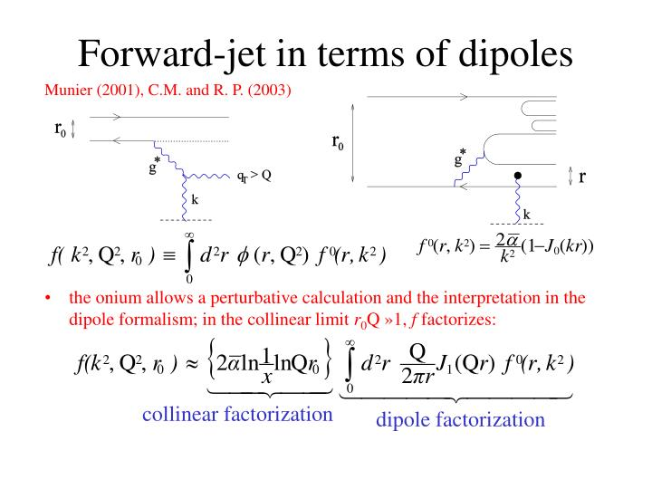 the onium allows a perturbative calculation and the interpretation in the dipole formalism;
