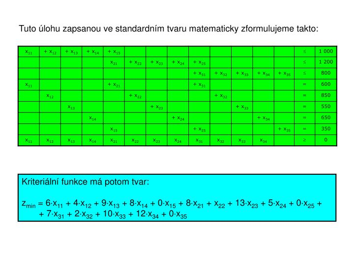 Tuto úlohu zapsanou ve standardním tvaru matematicky zformulujeme takto: