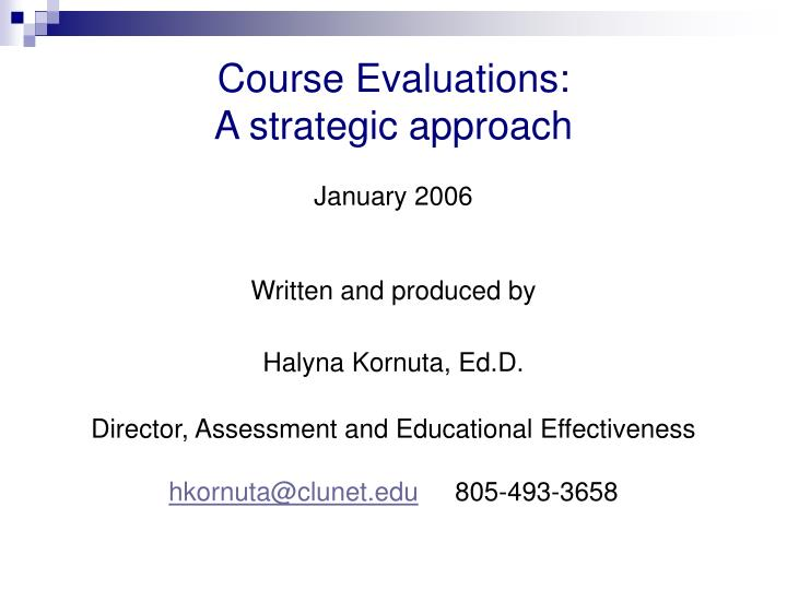 Course Evaluations: