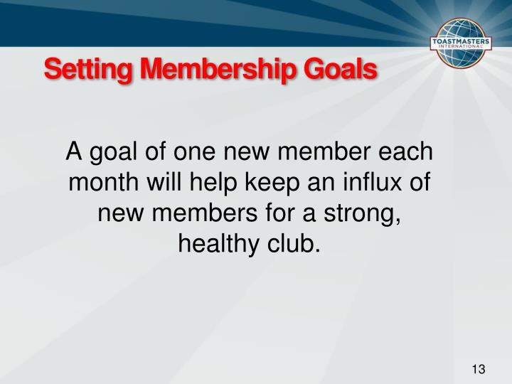 Setting Membership Goals