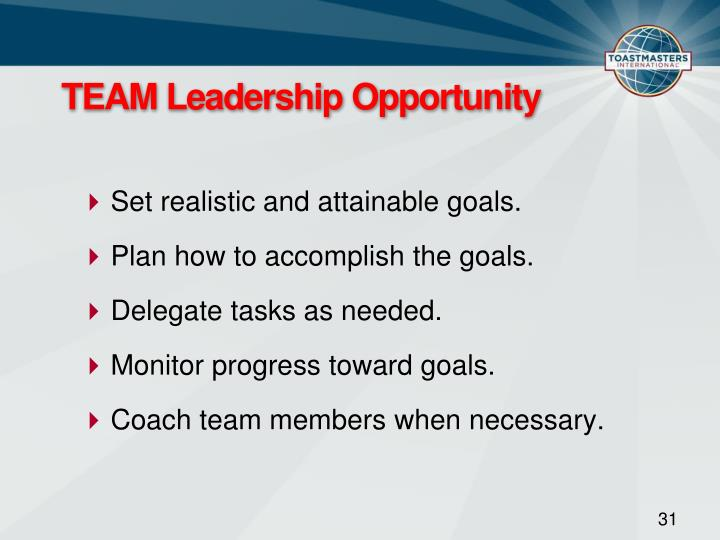 TEAM Leadership Opportunity