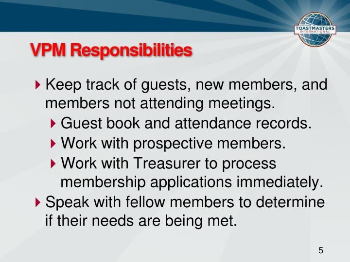 VPM Responsibilities
