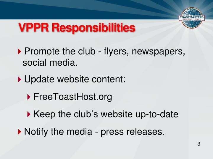 VPPR Responsibilities