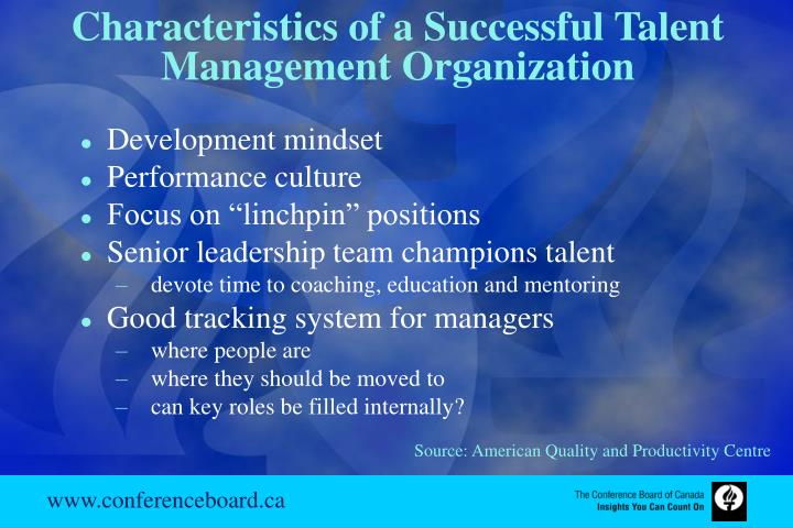 Characteristics of a Successful Talent Management Organization
