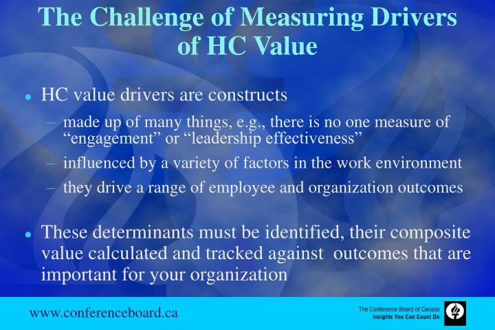 The Challenge of Measuring Drivers of HC Value