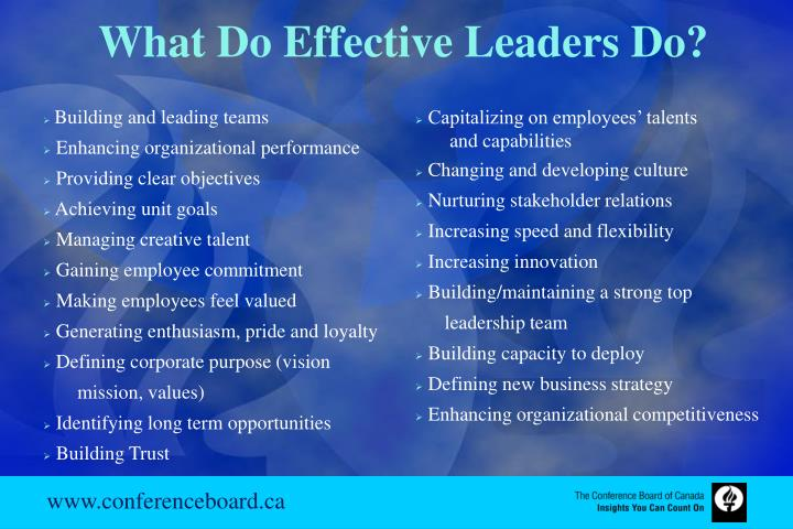 What Do Effective Leaders Do?