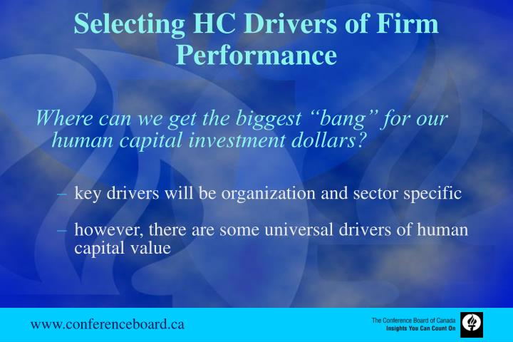 Selecting HC Drivers of Firm Performance