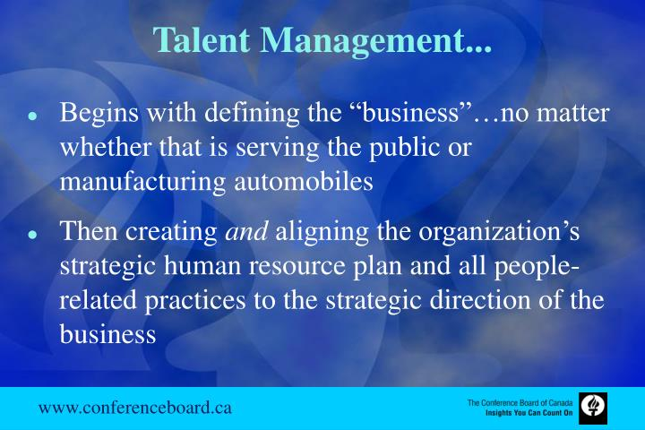 Talent Management...