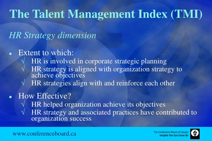 The Talent Management Index (TMI)